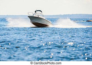 Small speedboat in archipelago