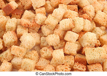 croutons - small spicy, crunchy, toasted, golden bread...