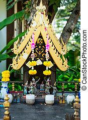 Small spirit hous in Thailand