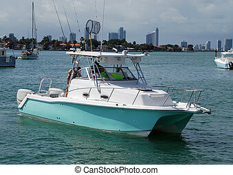 Small Sportfishing Boat - Small sportfishing boat powered by...