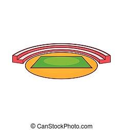 Small sports stadium icon, cartoon style