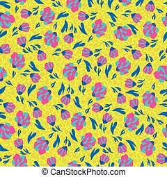 small spring flowers on a yellow background seamless pattern