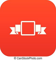 Small square banner icon digital red