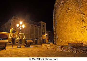 small square in Alghero by night