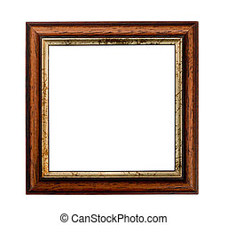 Small square picture frame with Gilded inset isolated on a white background