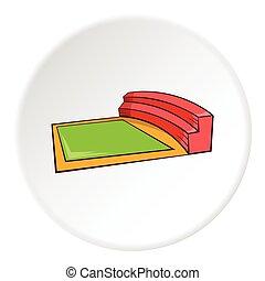 Small square stadium icon, cartoon style