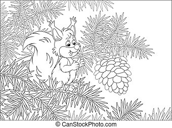 Friendly smiling forest rodent with a big gift on a branch of a prickly fir tree, black and white vector cartoon illustration for a coloring book