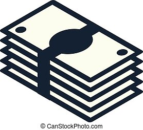 small stack of banknotes - stylized minimalistic design yen...
