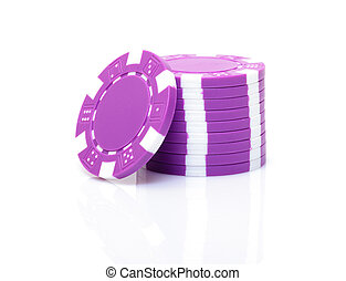 Small Stack of Purple Poker Chips