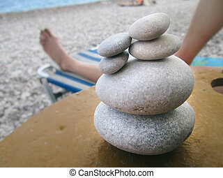 Small stacked rocks on the beach