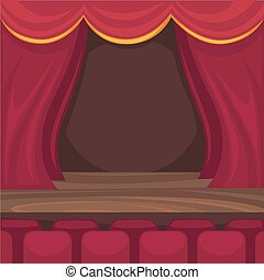 Small stage for comic monologues and magician performance