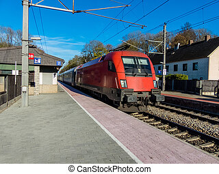small station in austria - a small railway station (oftering...
