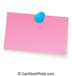 small sticky note with pin