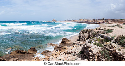 Small storm on Mediterranean Sea on the port of Caesarea