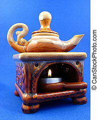 small stove with the teapot