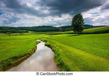 Small stream in a farm field in rural Carroll County, Maryland.