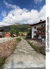 small stream in Pozza di Fassa, Italy