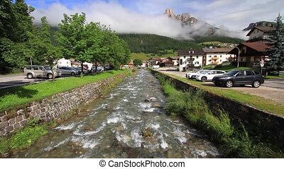 small stream in Pozza di Fassa - small stream in the alpine...