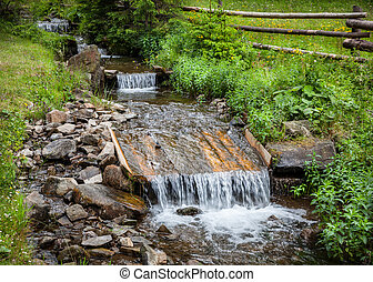 Small stream with water cascade