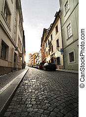 Small Street - Prague - A small skinny street detail in the ...