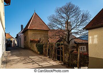 Small street Weissenkirchen Wachau Austria on a sunny day in winter