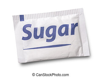 sugar - Small sugar packet isolated on white