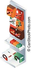 Small supermarket shelf icon, isometric style