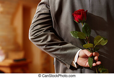Small surprise - Photo of man in suit holding a red rose...