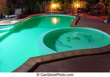 Small swimming pool on night