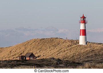 Small Sylt lighthouse - Small white lighthouse on a hill ...