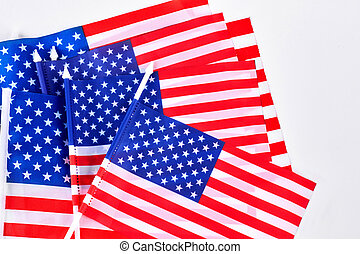 Small table flags of USA. Collection of cocktail flag of...
