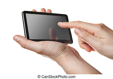tablet pc with touch screen in hands isolated