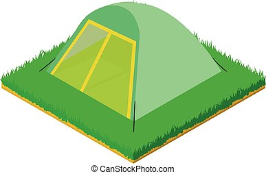 Small tent icon, isometric style