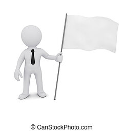 small three-dimensional man holding a white flag fluttering