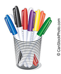 Small tip felt marker pens in a desk organizer for school, home, office, crafts, and back to school projects.