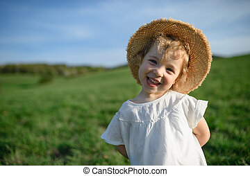 Small toddler girl standing on meadow outdoors in summer, looking at camera.