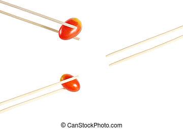 Small tomato and Chopsticks