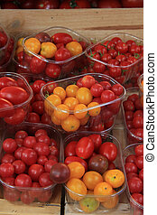 Small tomatoes at a market