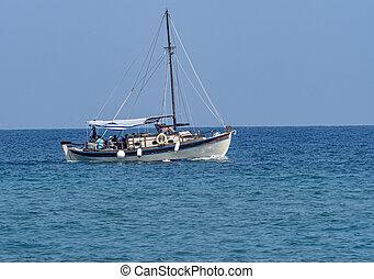 small tourist boat in blue sea