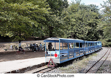 Small tourist train between Sainte Cecile d'Andorge and...