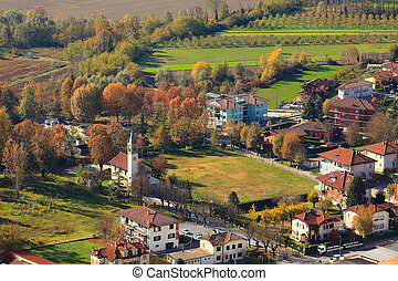 Small town above view. Piedmont, Italy. - Aerial view on ...