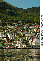 Small Town at a Norwegian Fjord's Coast