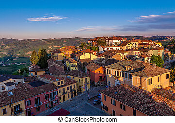 Small town at sunset in Italy.