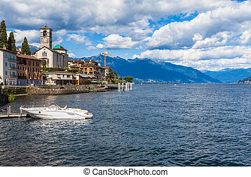 Small town Brissago in Ticino, Italy - View of the small ...