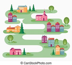 Cartoon illustration with abstract map of countryside. Rolling landscape with small village and trees. Colorful houses. Cute street in flat design.