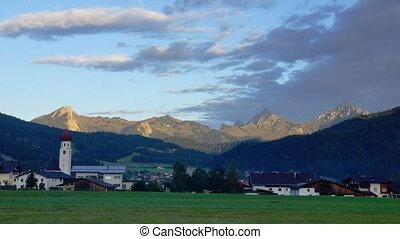 Small town in Tirol - Panoramic time-lapse of small town in...