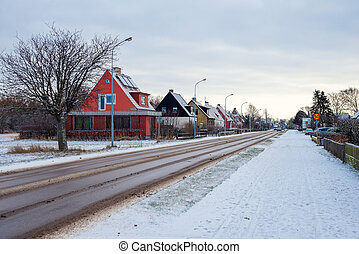 small town in winter