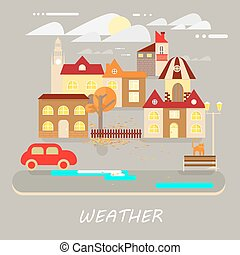 Small town landscape - Autumn weather colorful landscape...