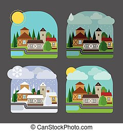 Small town landscape in flat style