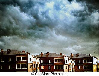 Small Town Landscape - Landscape of Small Town with Dramatic...